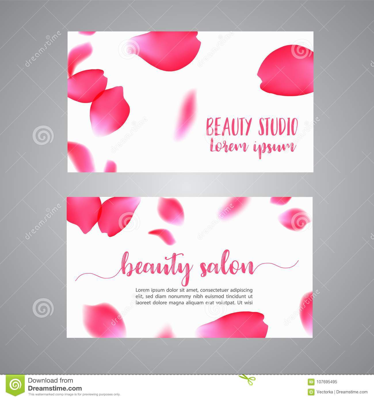 Vector Business Card Template With Rose Petals Floral Concept For