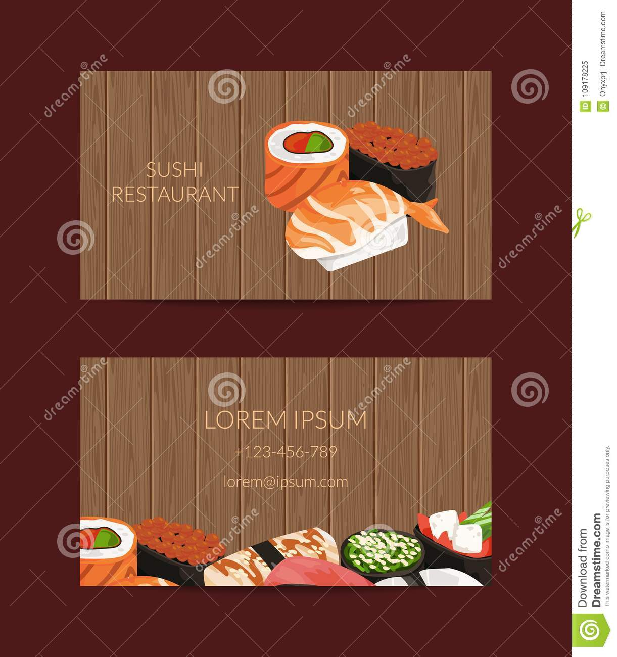 Vector Business Card Templates In Cartoon Style For Sushi Restaurant Or Cooking Lessons With Wooden Texture Background Stock Vector Illustration Of Japan Japanese 109178225