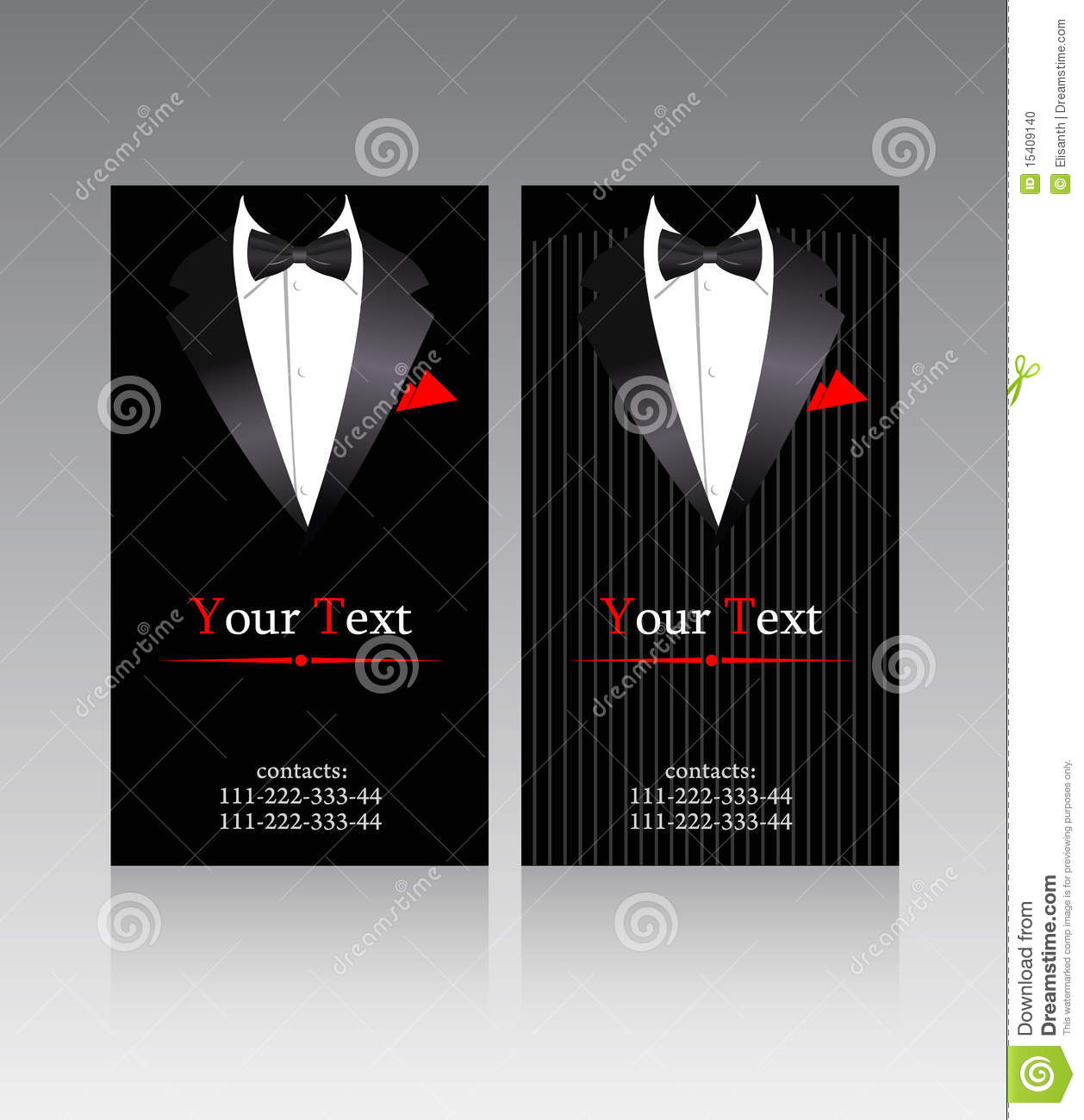 vector business cards with elegant suits stock vector