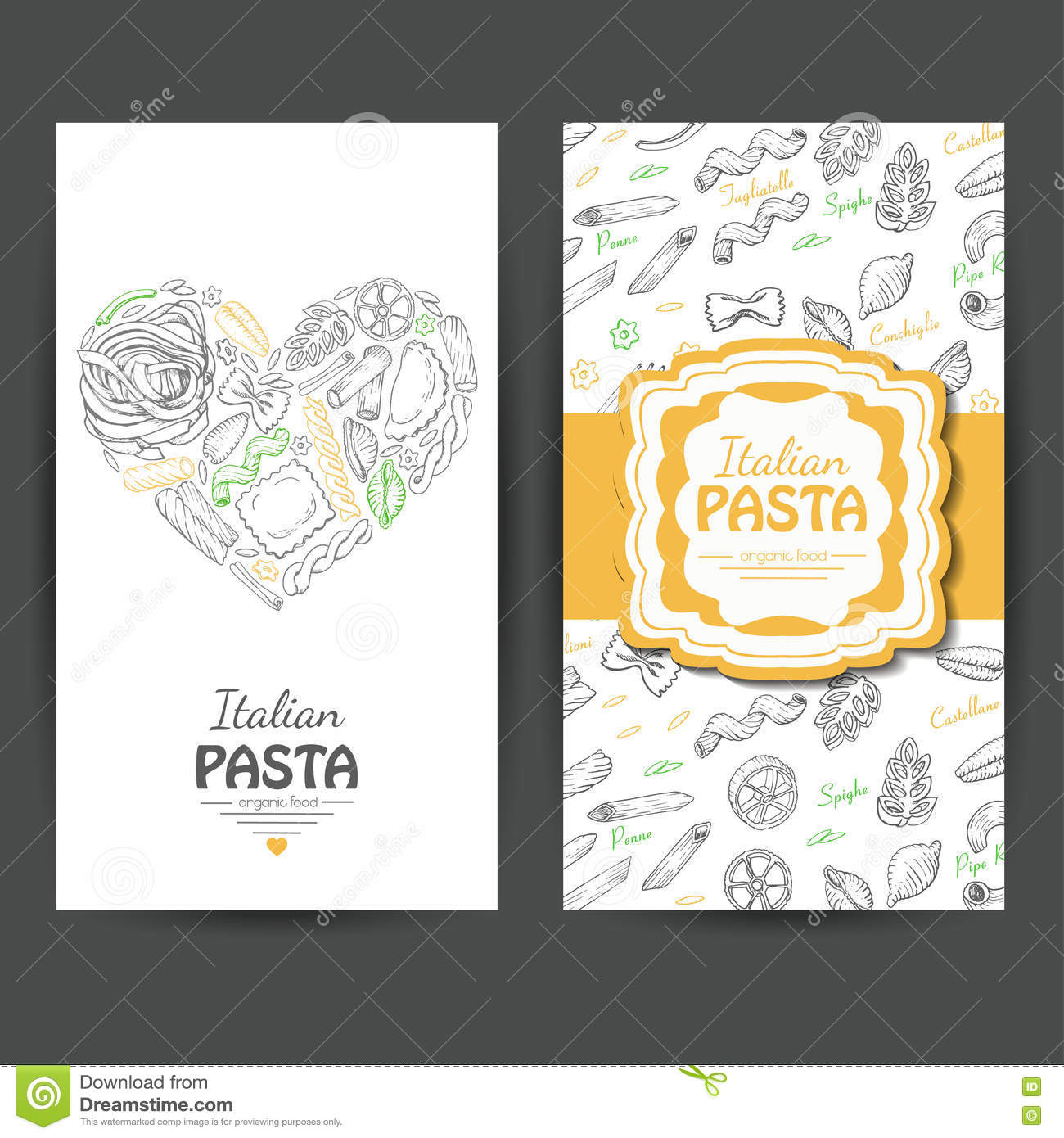 Vector business cards with italian pasta for restaurants stock download vector business cards with italian pasta for restaurants stock vector illustration of cuisine colourmoves