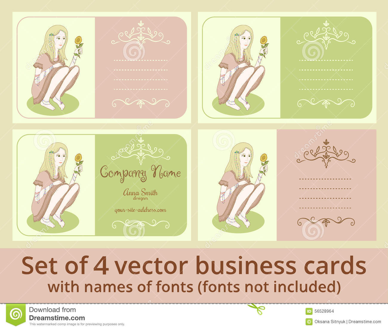 Vector Business Cards Template Set Stock Vector Image