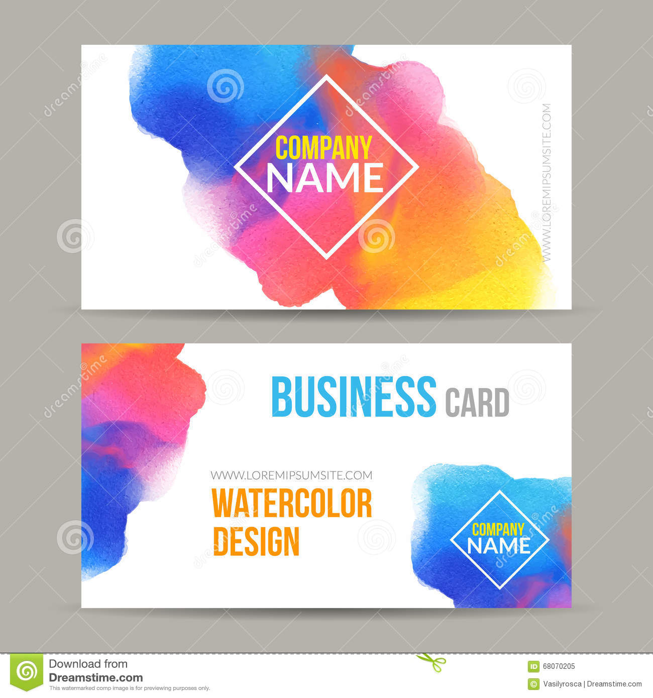 Vector business cards template with watercolor paint abstract download vector business cards template with watercolor paint abstract background business card mockup stock vector reheart Gallery