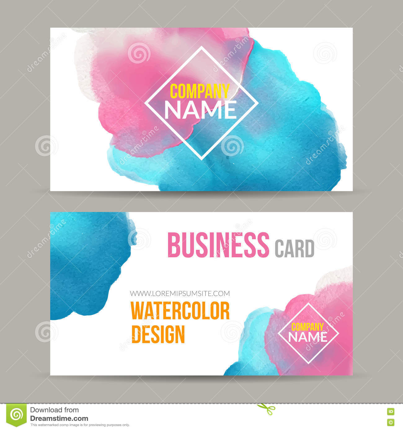 Vector Business Cards Template With Watercolor Paint Abstract ...