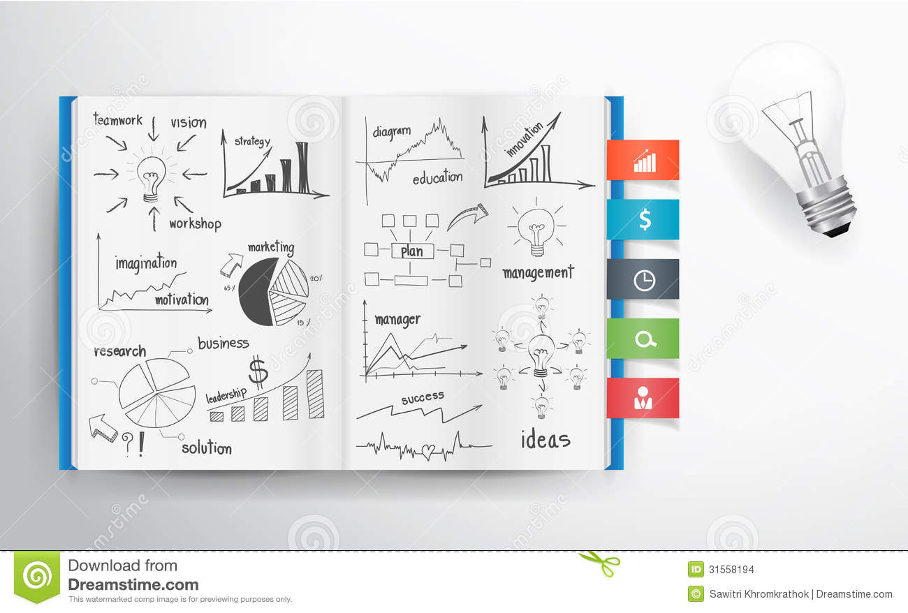 Business Book Cover Jobs : Vector business concept and graph drawing on book stock
