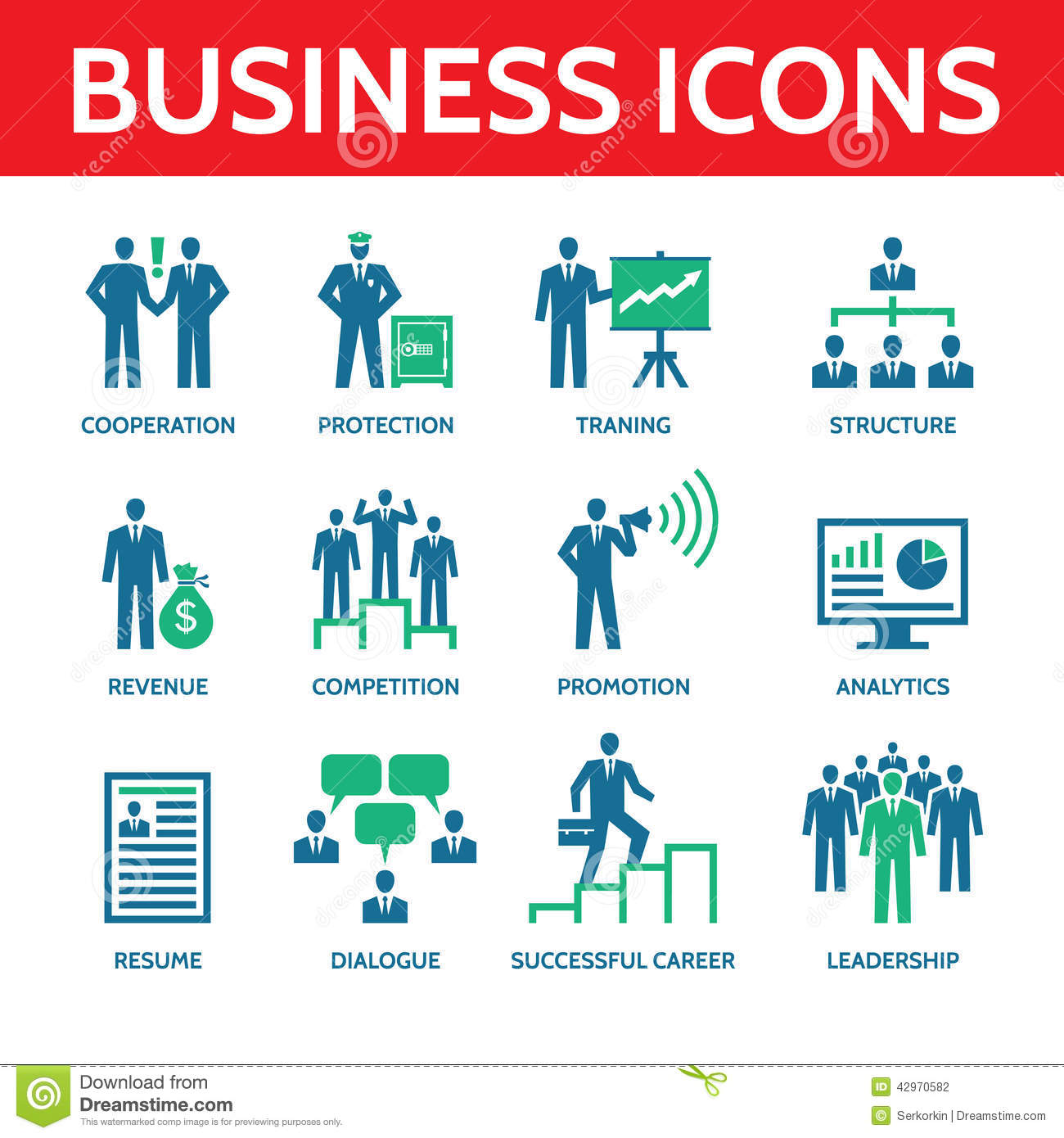 12 Vector Business Icons In Blue And Green Colors Stock