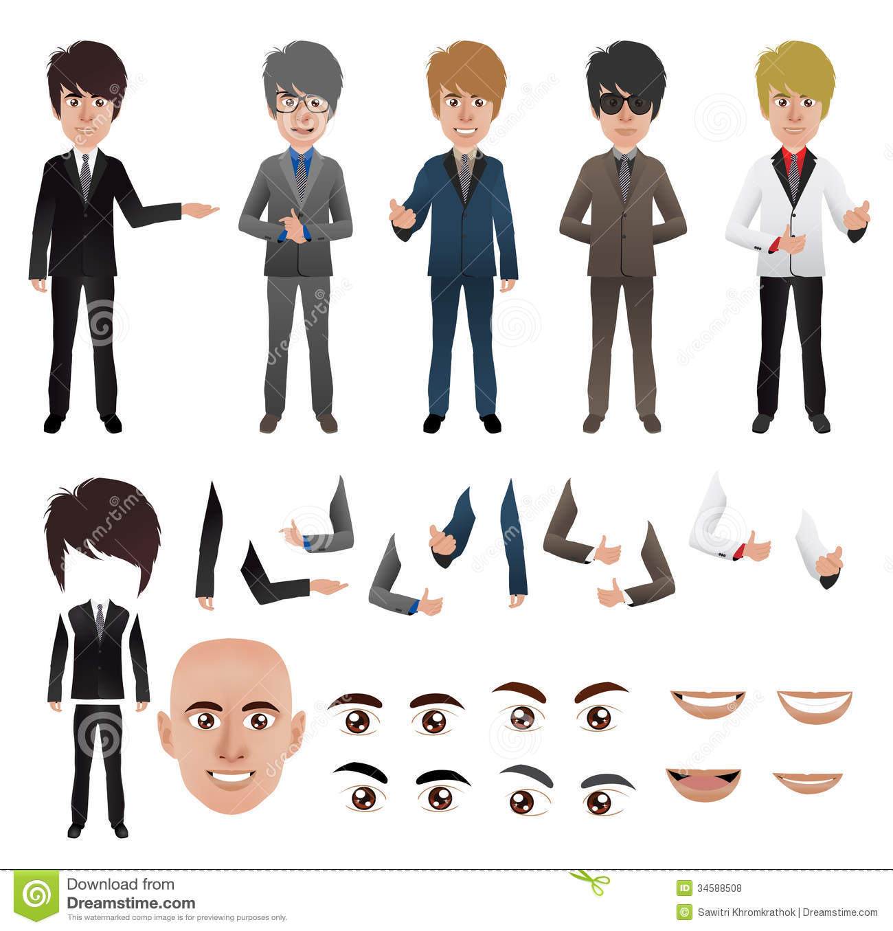 Vector Business Man With Parts Of The Body Templat Stock Vector