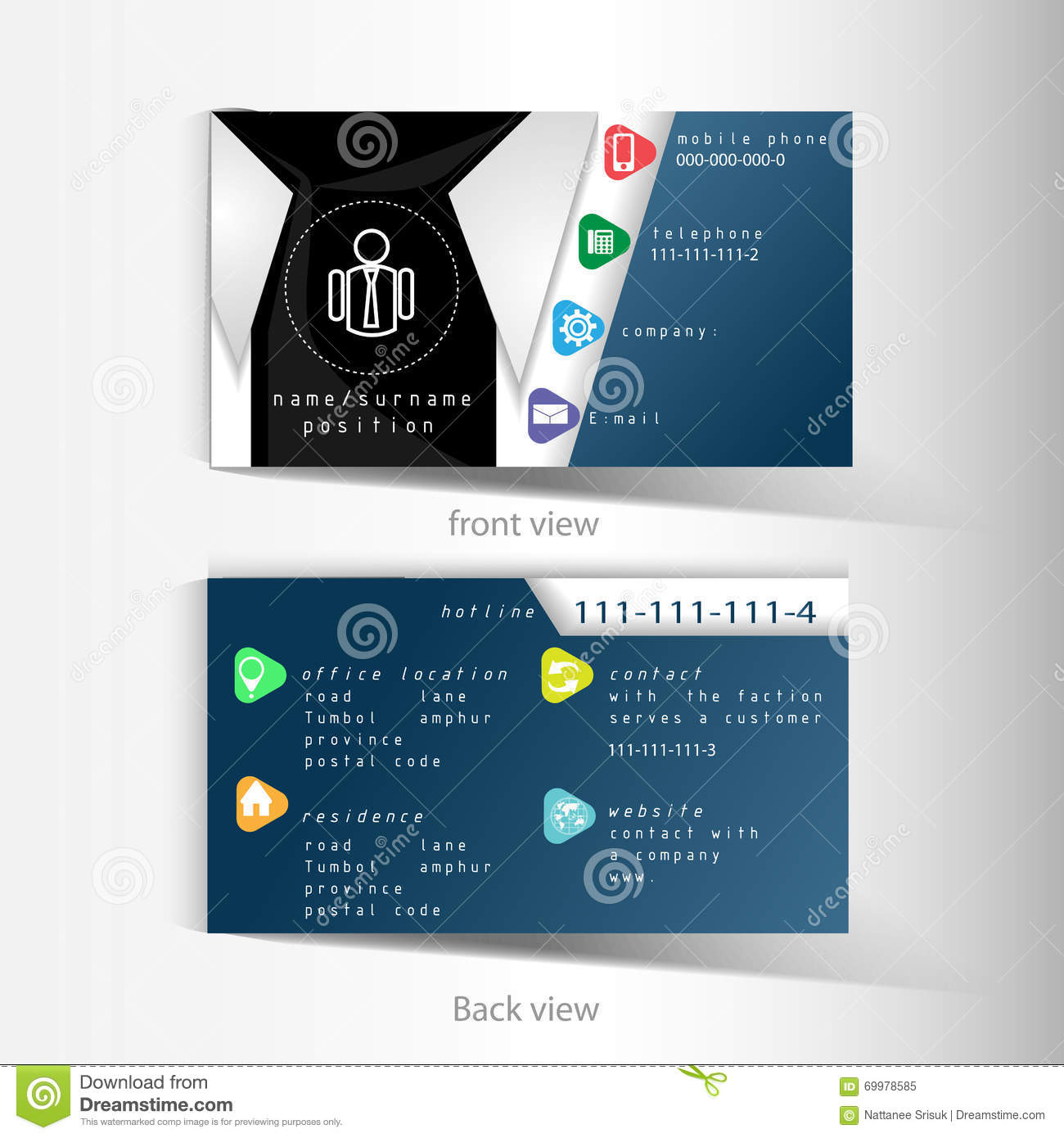 Vector Business Name Card Template With Abstract Shirt Design Stock ...