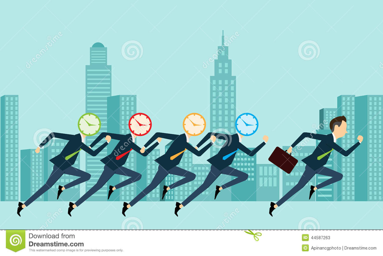 Vector business people competitive with business time for Time for business