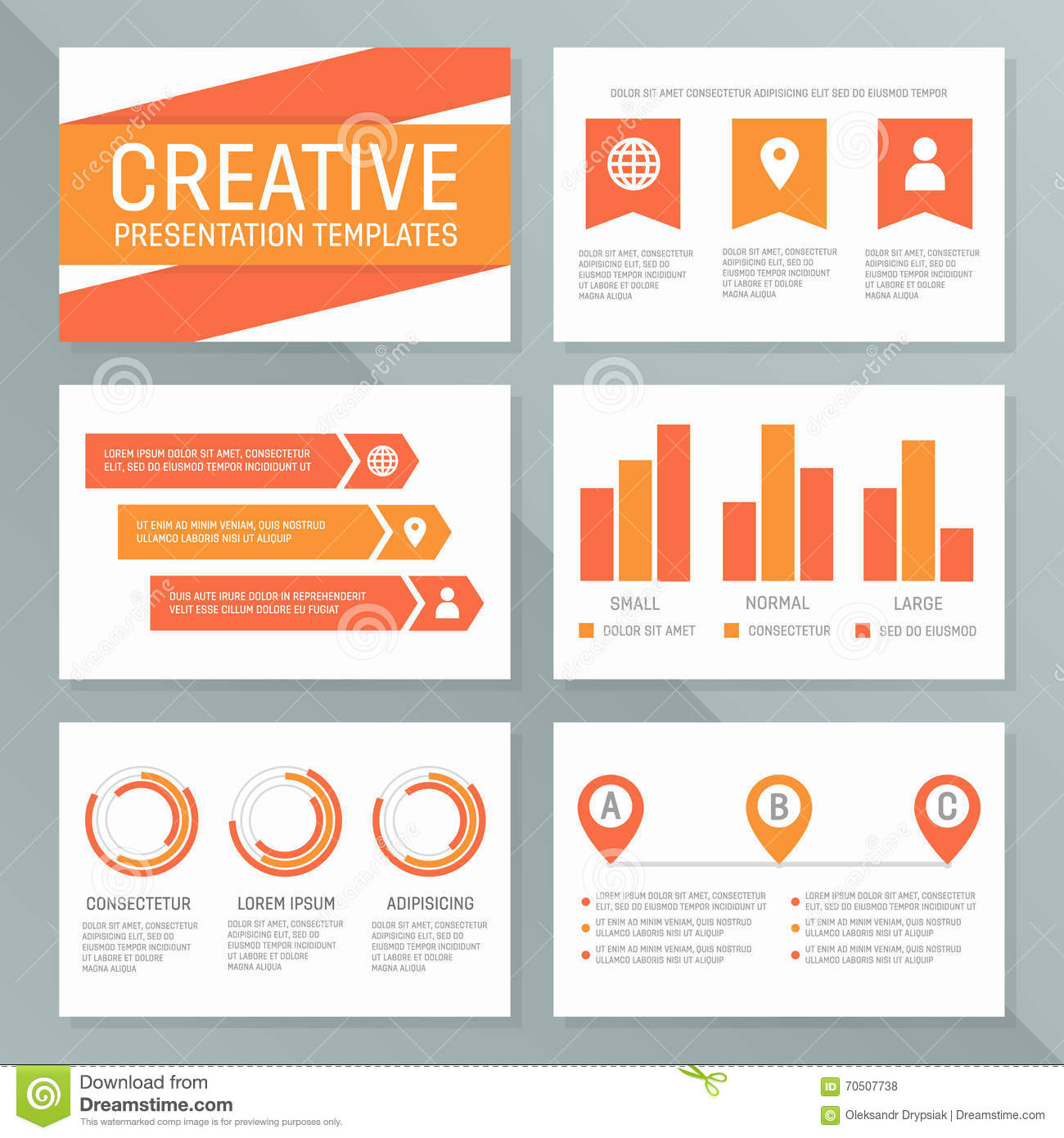 vector business presentation template set  graph and chart