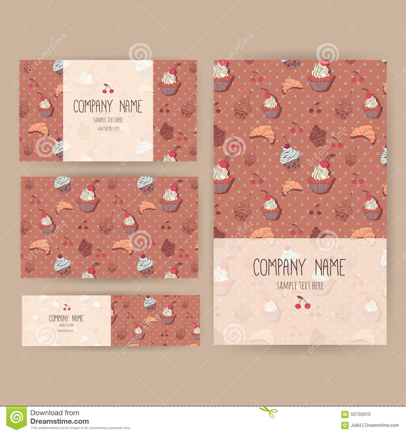 vector business set template cute hand drawn dessert vector business set template cute hand drawn dessert illustrations restaurant or cafe branding elements