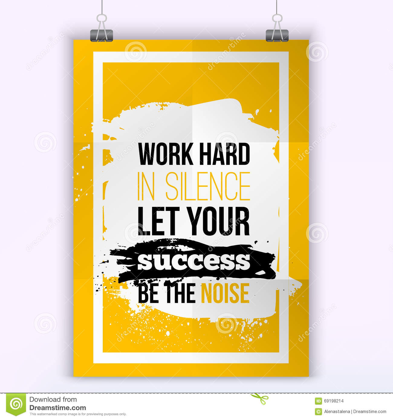Vector Business Success Quote Work Hard In Silence Let Your Success