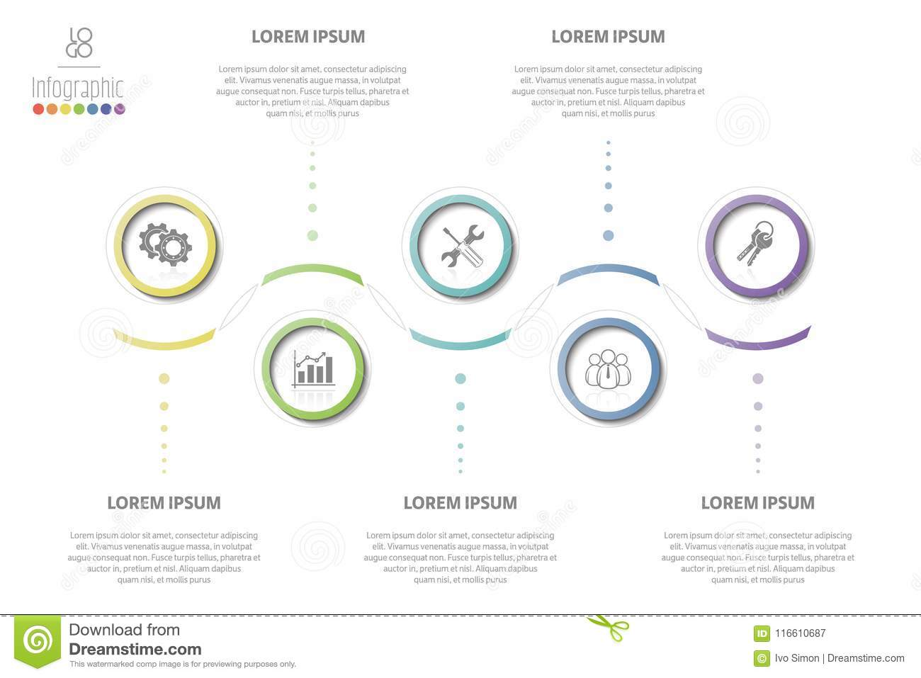 Research timeline workflow strategy report stock vector vector business template with 5 section info steps options or processes can be used for timeline workflow research strategy annual report flashek Gallery