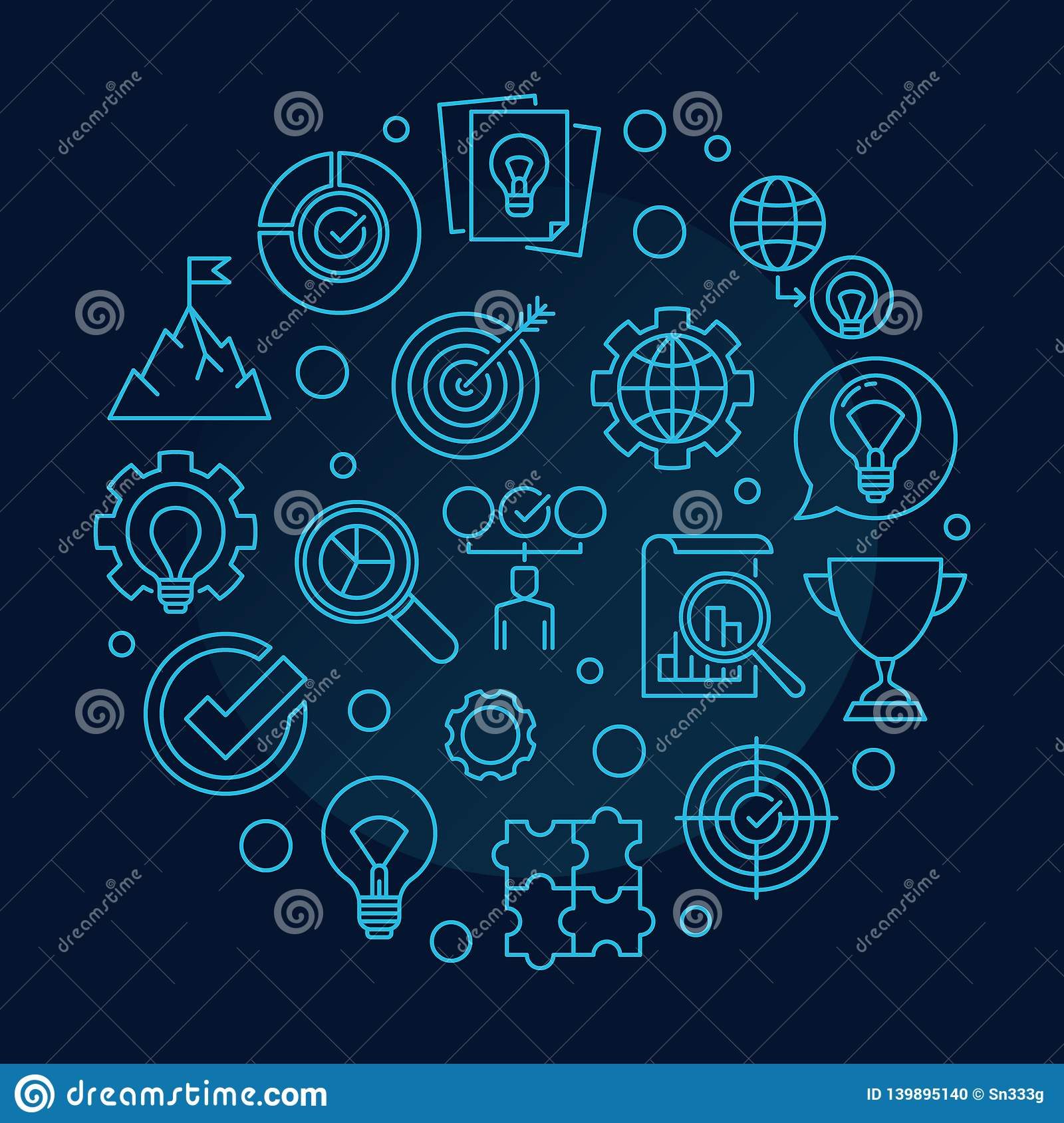 Vector Business Values concept round outline illustration