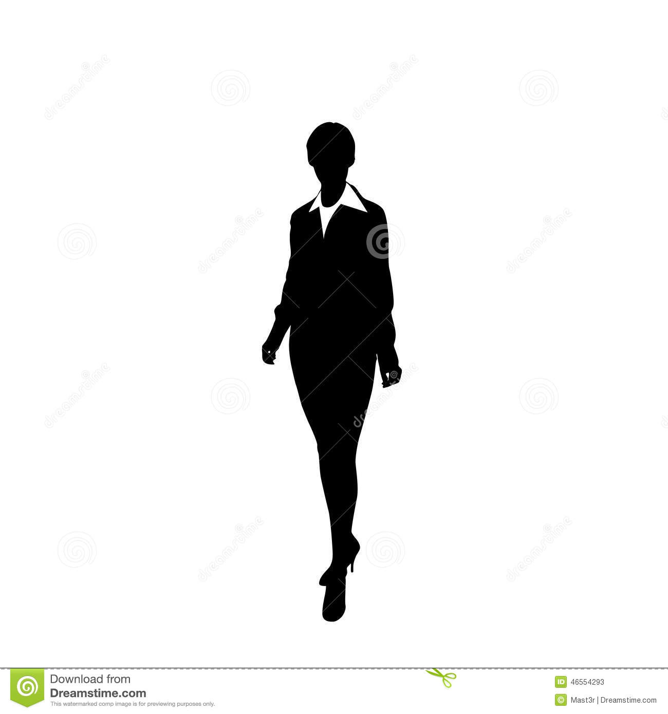 Vector Business Woman Black Silhouette Walk Step Stock ...