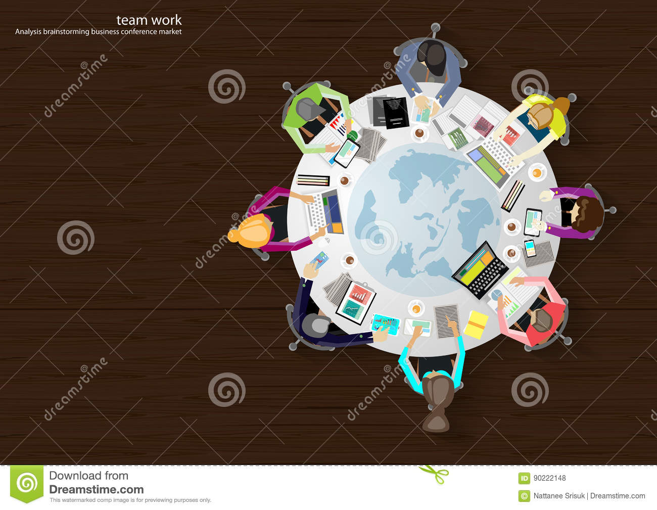 Vector business work places , teamwork, brainstorming, business analysis, marketing plan, a map of the world, paper files, mobile