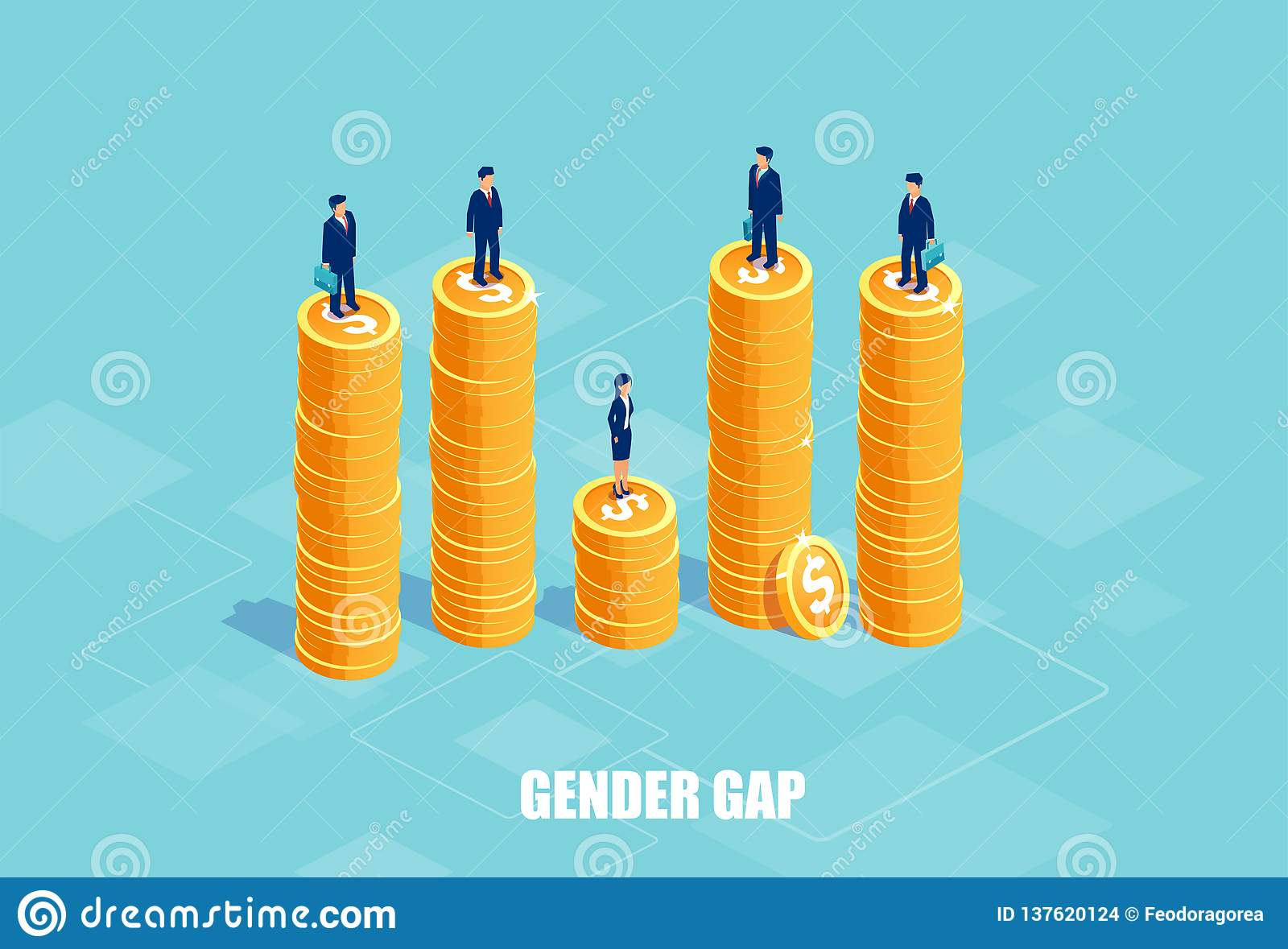 Vector of businessmen and businesswoman on piles of coins of different height