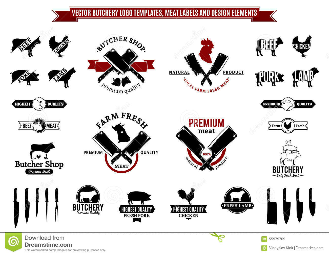 Vector Butchery Logo Templates Labels Icons And Design