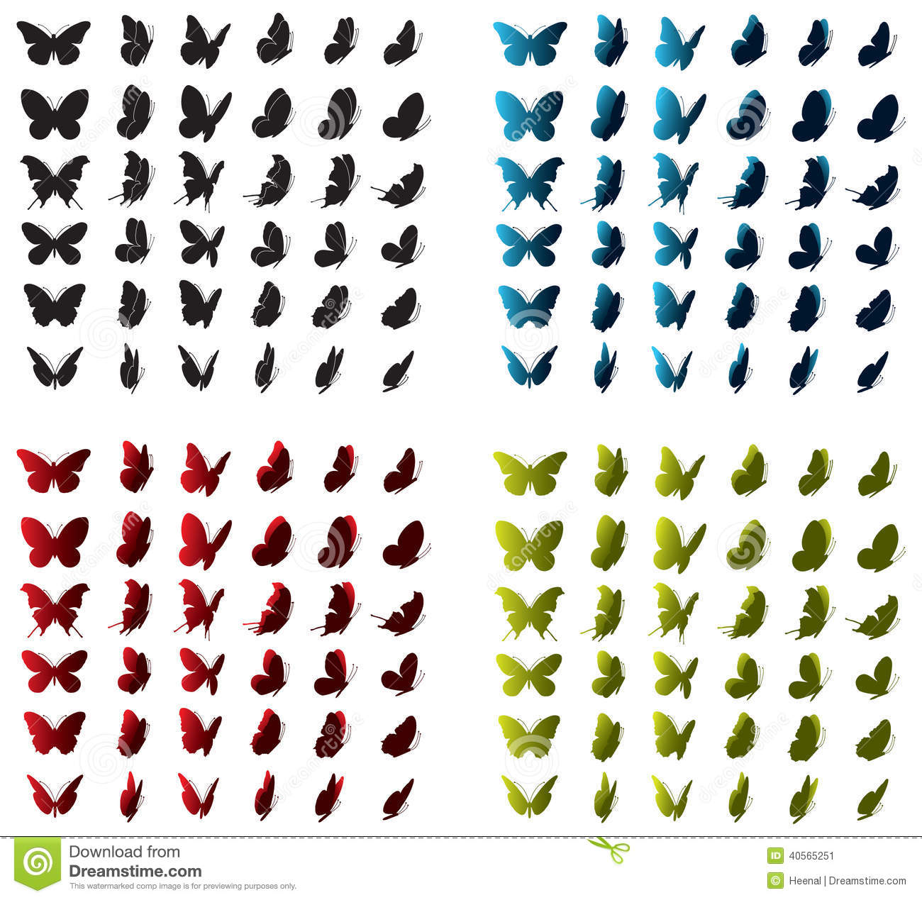 Collection Of Butterfly Icons ,silhouettes,sides,positions