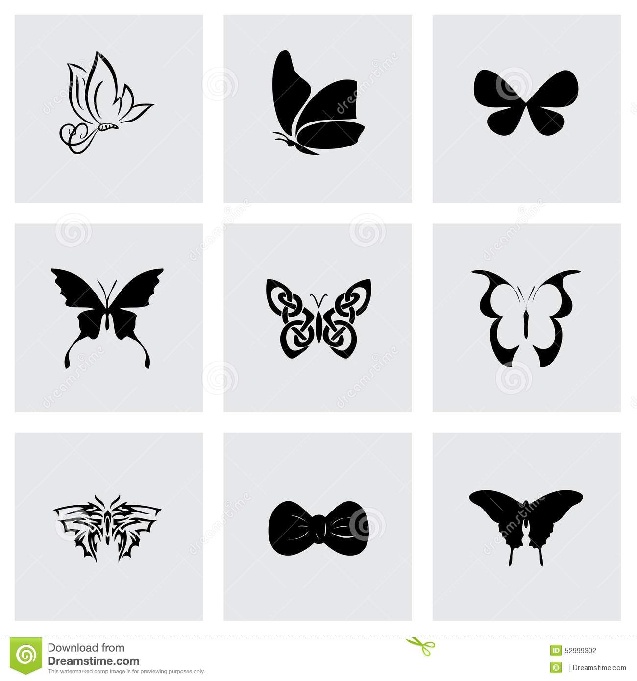 vector butterfly icon set stock vector