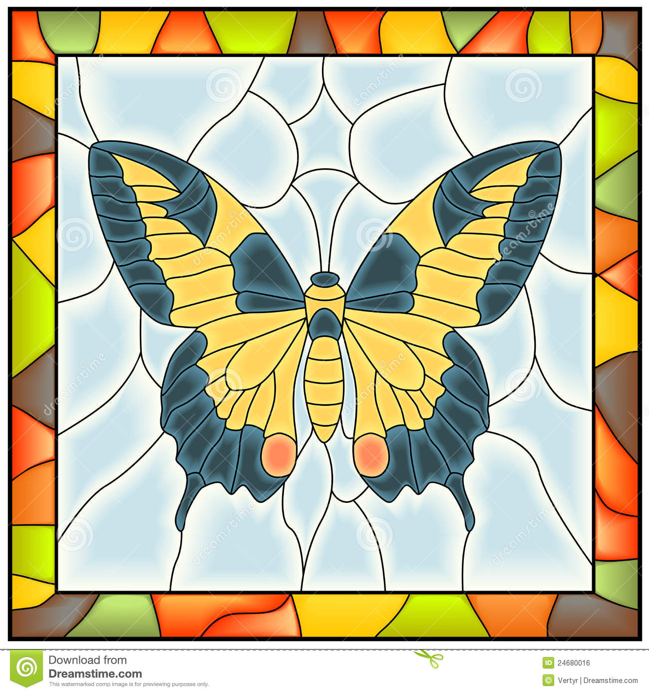 Vector of butterfly in stained glass window royalty free for Butterfly stained glass craft