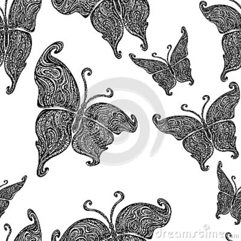 6129a9235a3ad Seamless pattern of ornamental Boho style elements of butterflies. Hand  Drawn vector illustration tattoo template. Modern stylish and trendy style  for ...