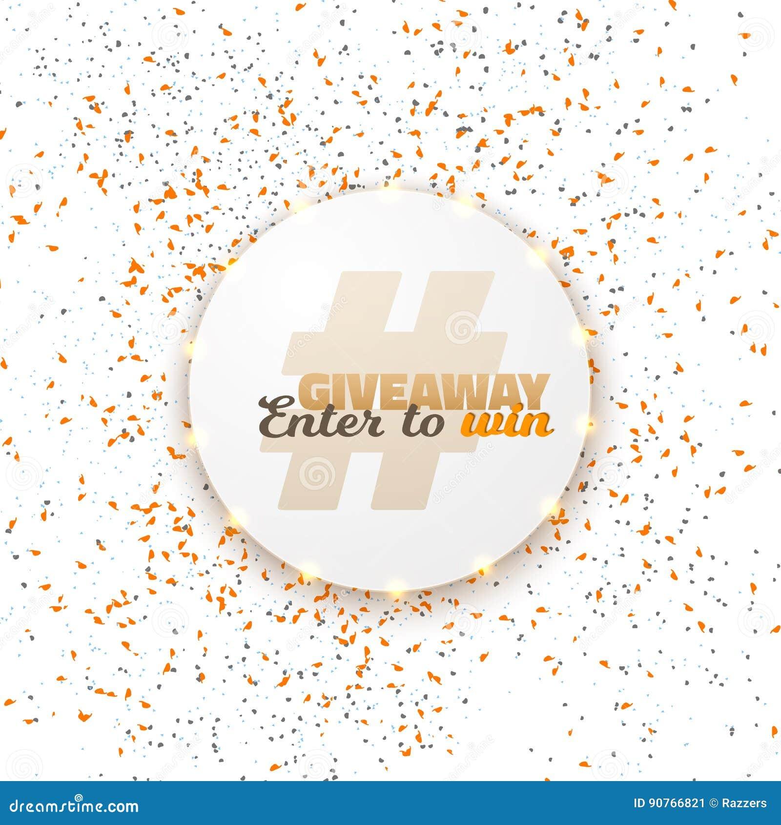 vector button giveaway social media template stock vector