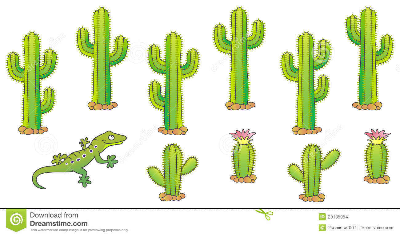 Cactus and lizard. Desert theme. Vector illustration.