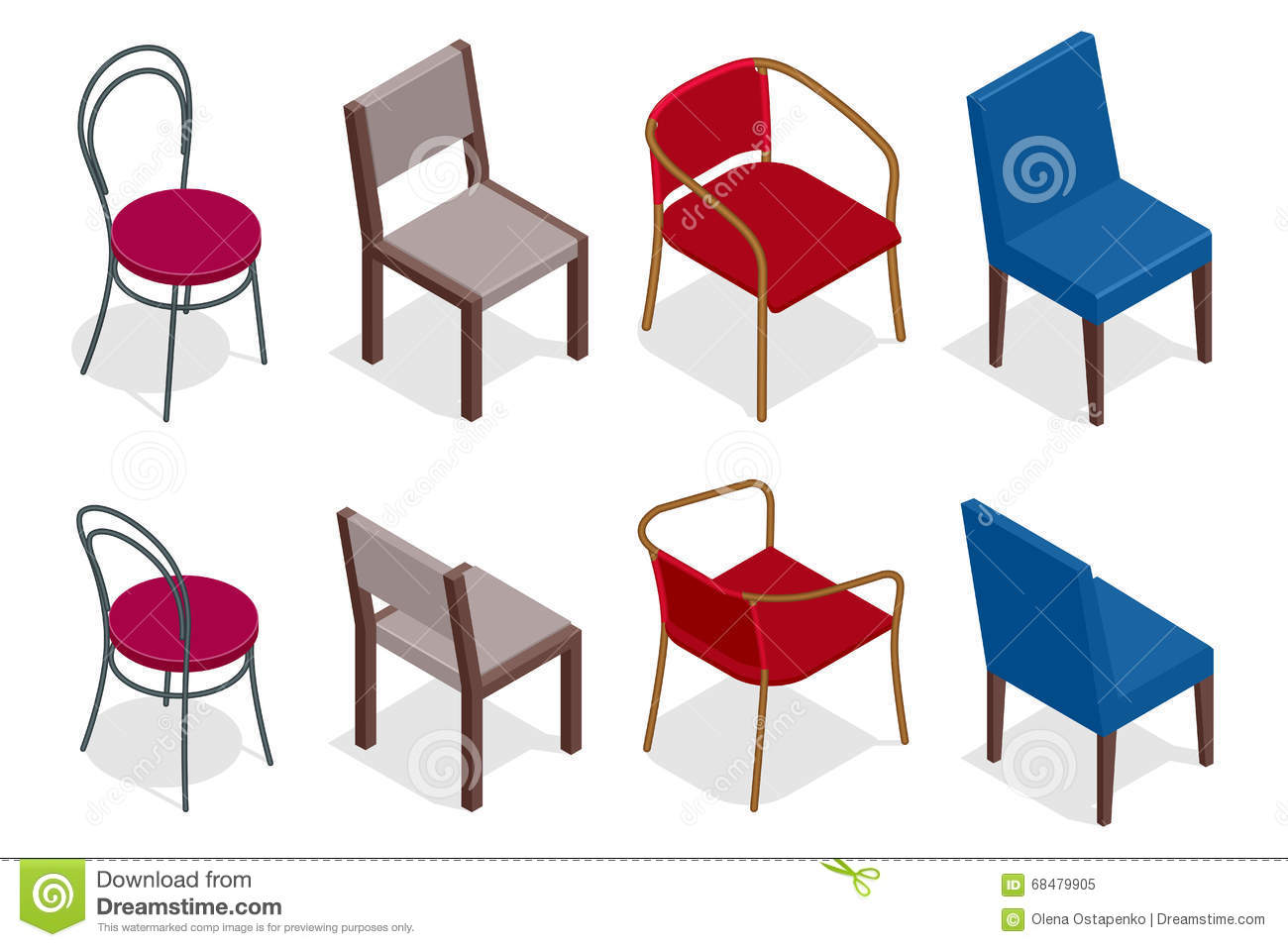 Vector Cafe Chair Collection. Flat 3d Vector Isometric ...