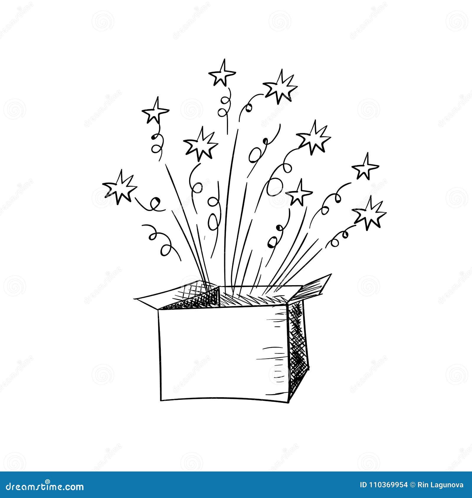 Vector A Caixa Aberta Rabiscar A Ilustracao Tirada Mao Elemento