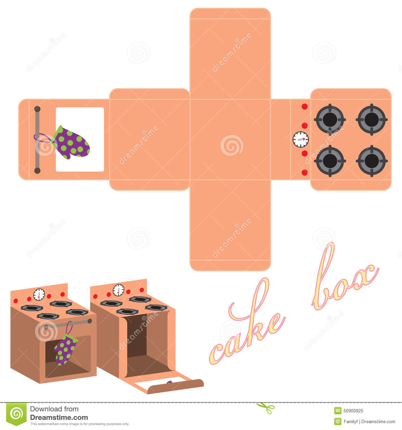 Vector Cake Box Template Stock Vector Illustration Of Food 50900925