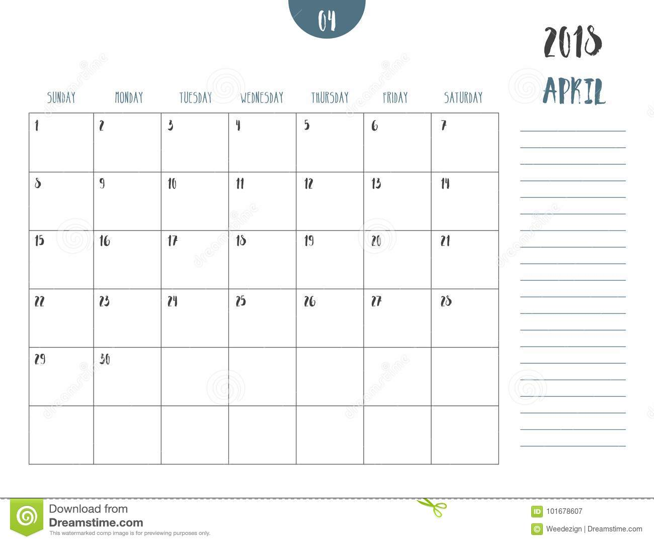 vector of calendar 2018 april in simple clean table style wi