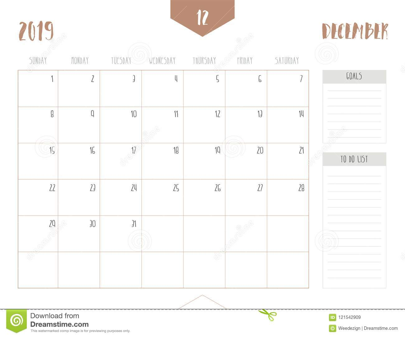 December Calendar 2019 With Goals Vector Of Calendar 2019 December In Simple Clean Table Style Stock