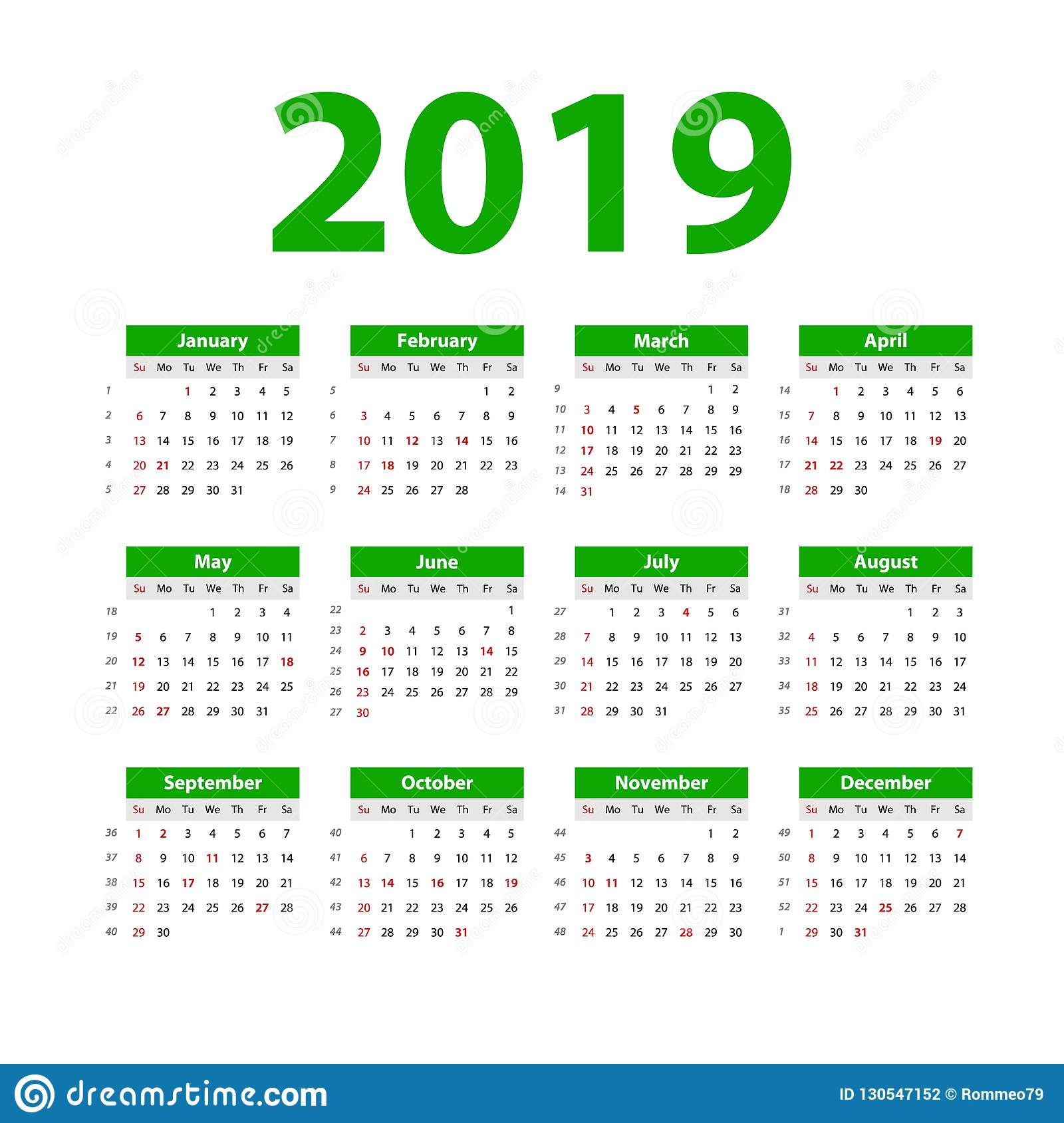 Vector calendar 2019 green week starts on sunday english calender new year color simple - New years colors 2019 ...
