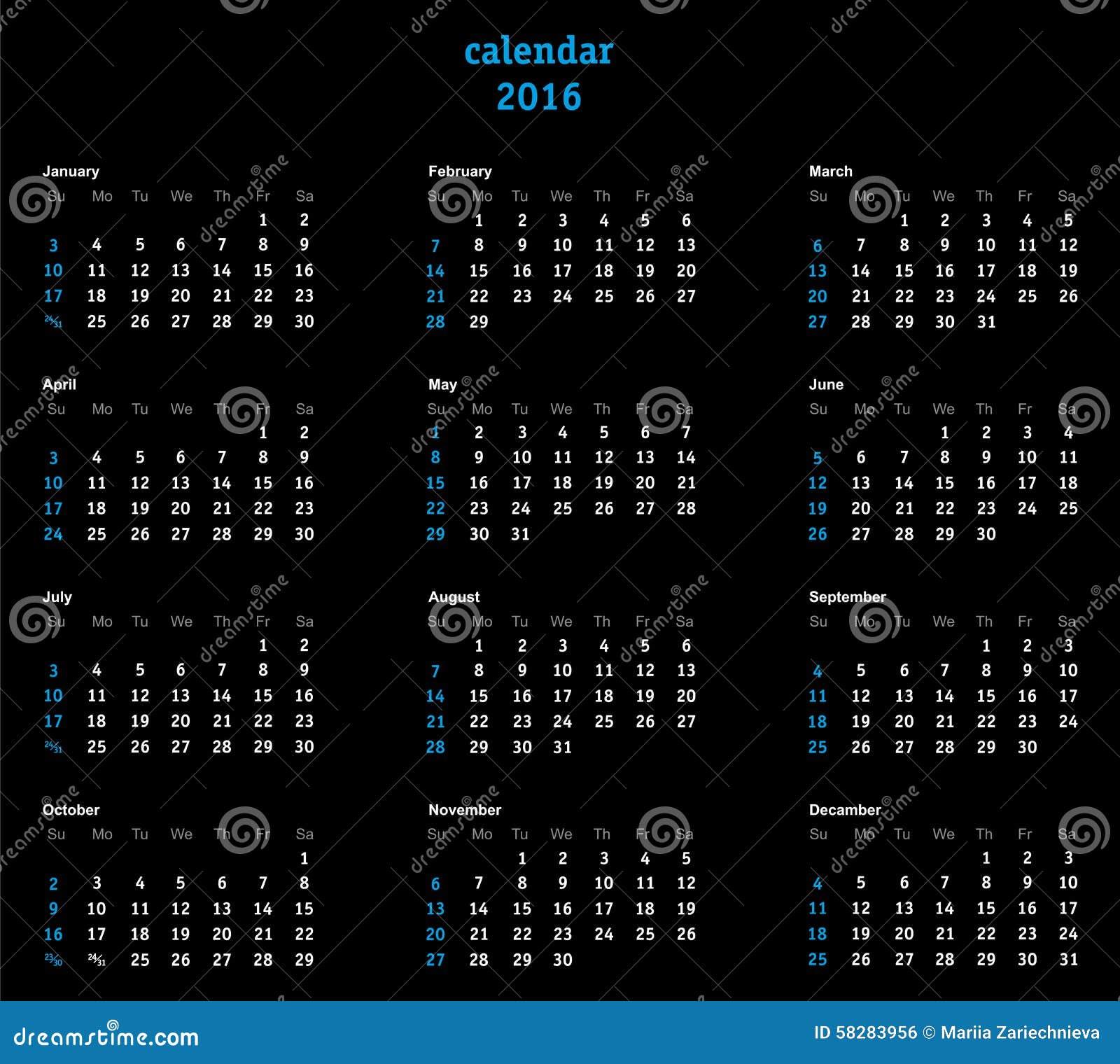 Calendar Background Vector : Vector calendar grid on black background stock