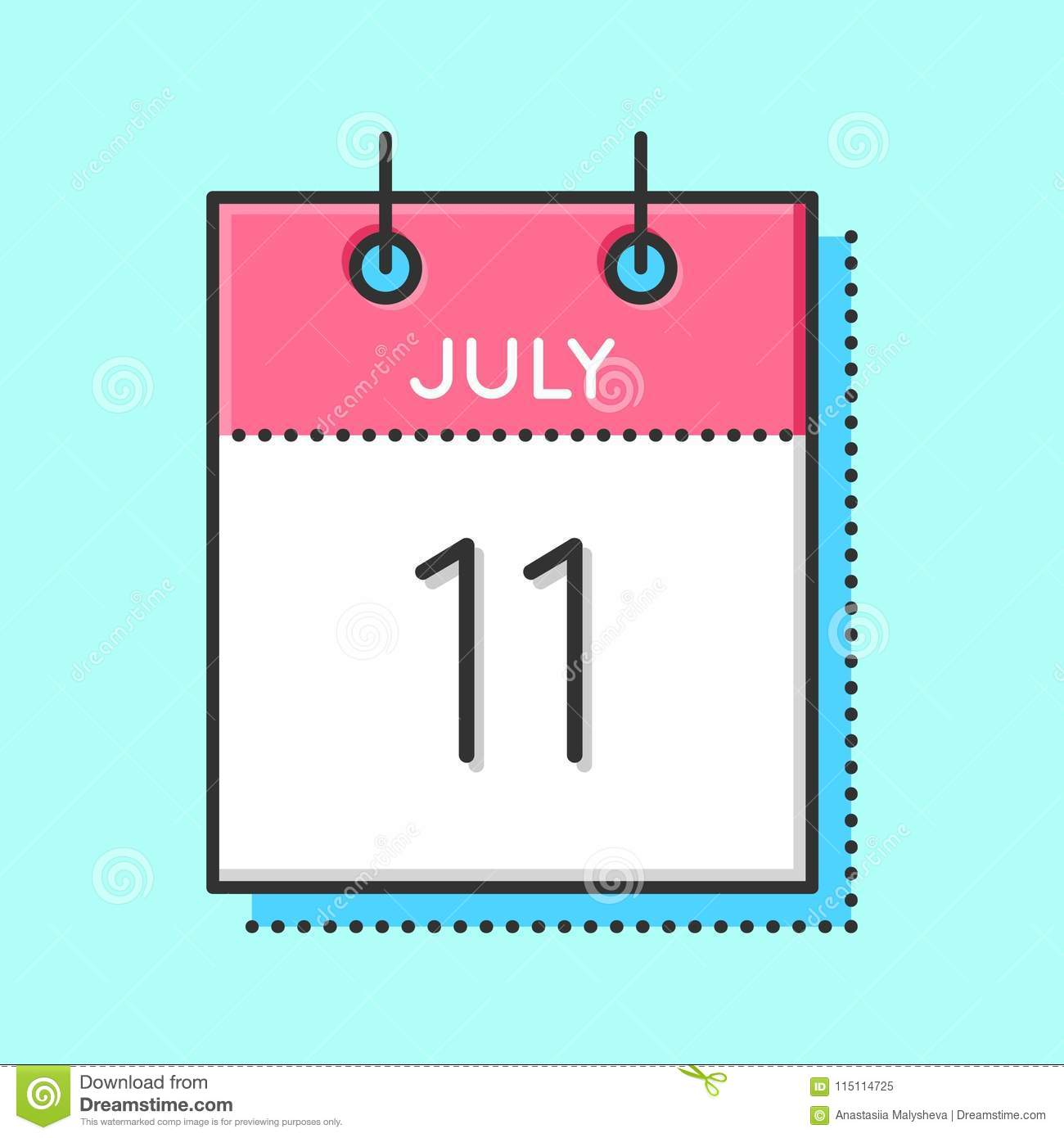 Vector Calendar Icon stock vector. Illustration of number - 115114725