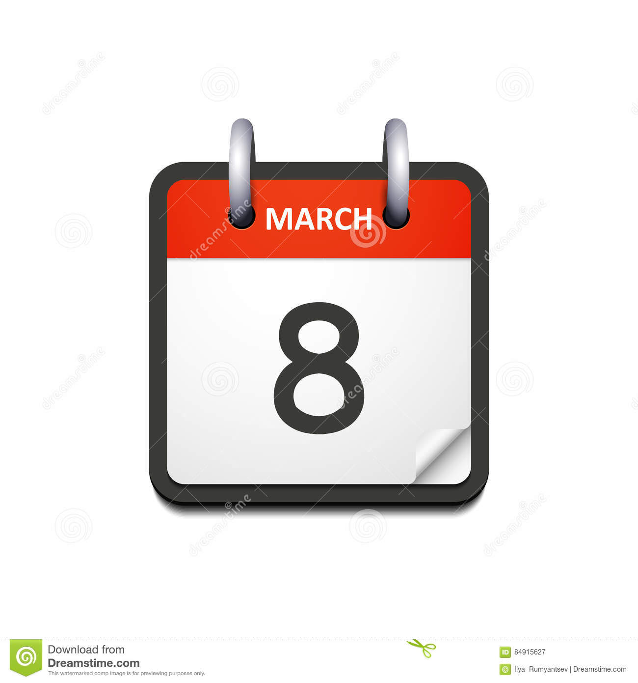 Vector Calendar Icon With 8 March Date Stock Vector Illustration