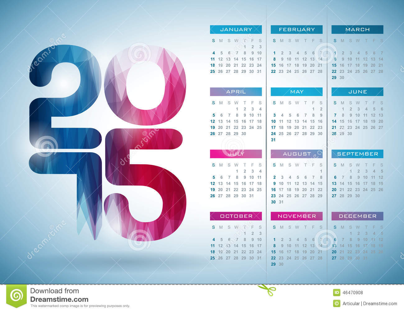 Calendar Background Design : Vector calendar illustration with abstract color