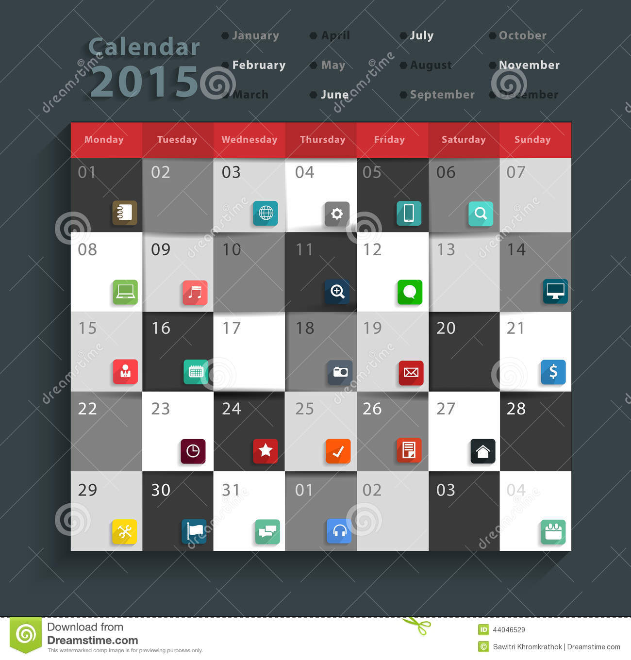 Calendar Design Free Vector : Vector calendar modern business flat icons set stock