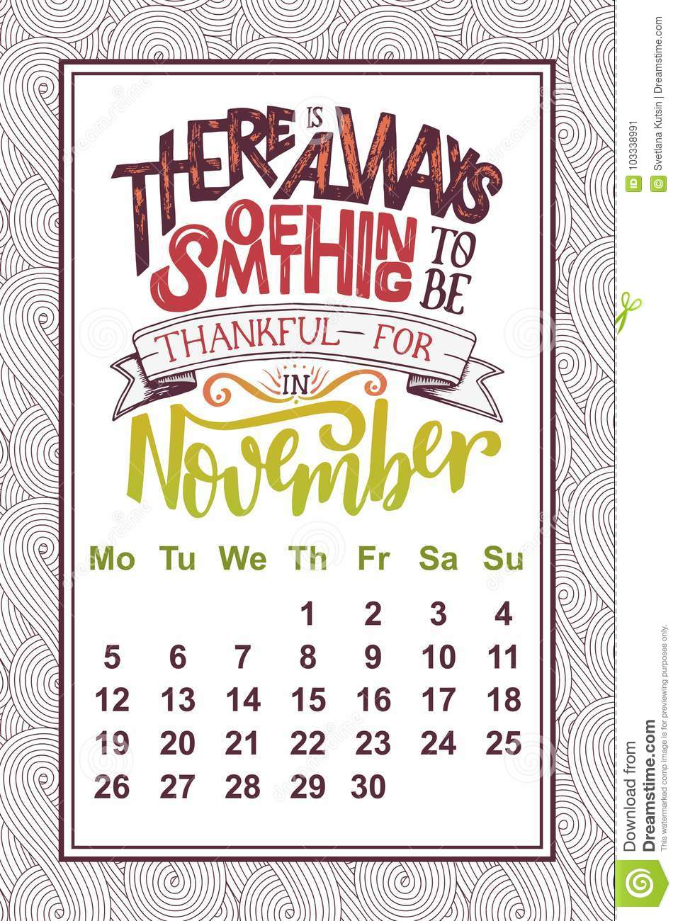Calendar Design Quote : Vector calendar for month hand drawn lettering quote for
