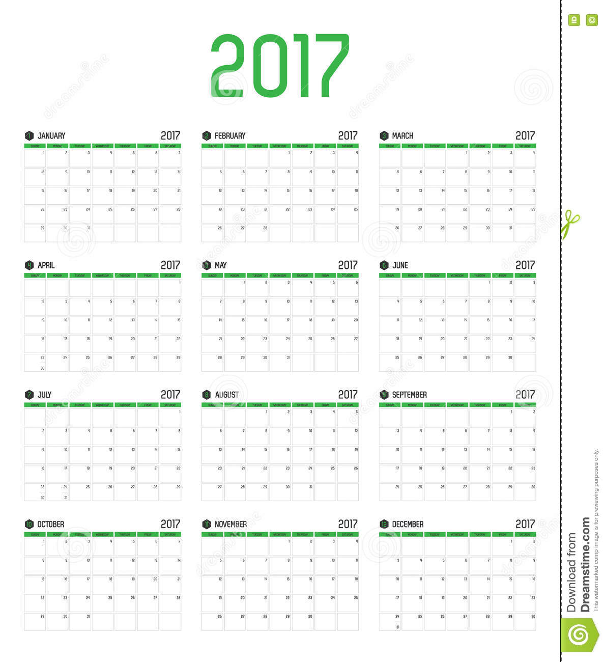Vector Of Calendar 2017 New Year ,12 Month Calendar Set With Gre ...