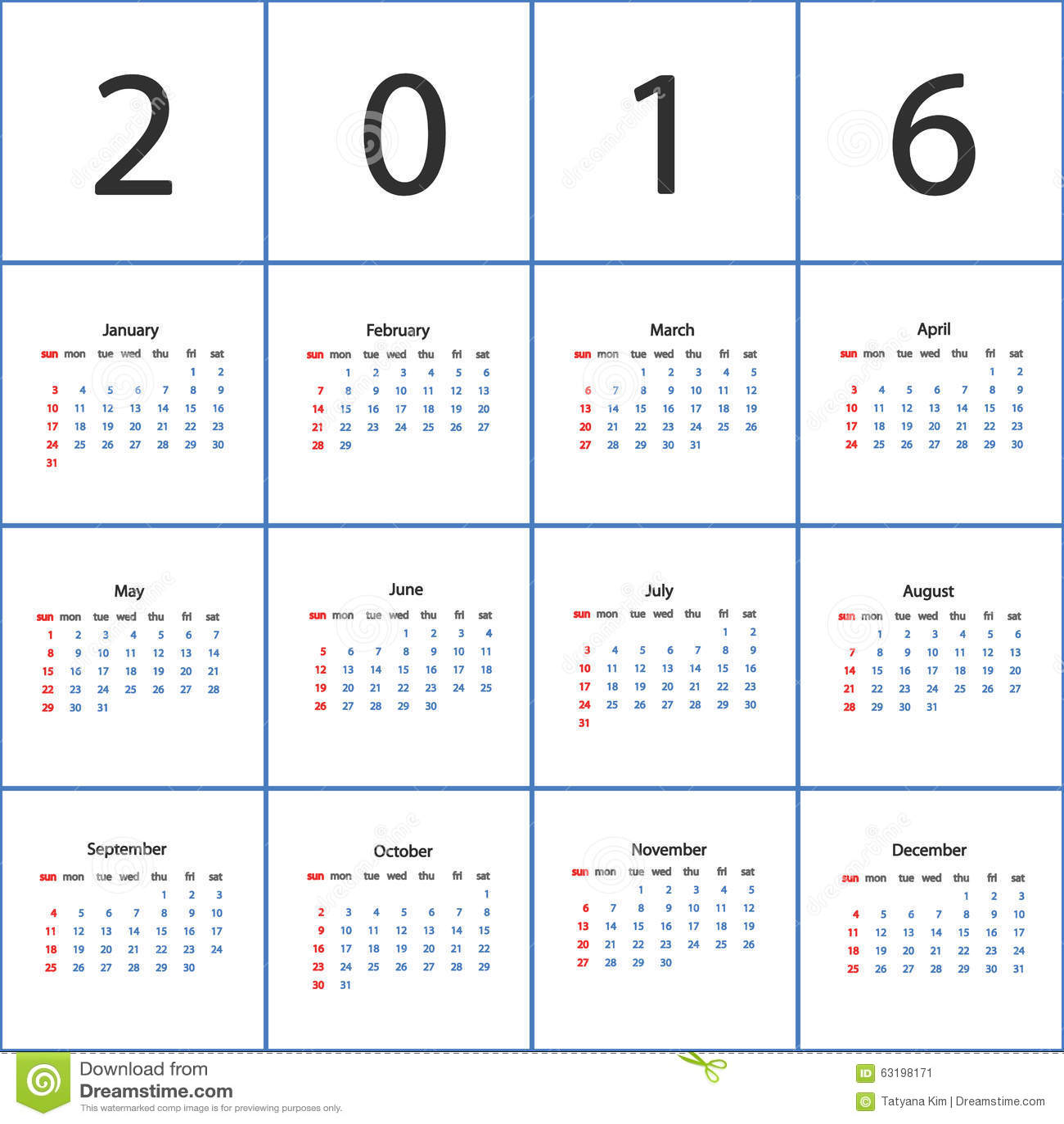 1300 x 1390 jpeg 152kB, Vector calendar 2016. Plain white calendar.