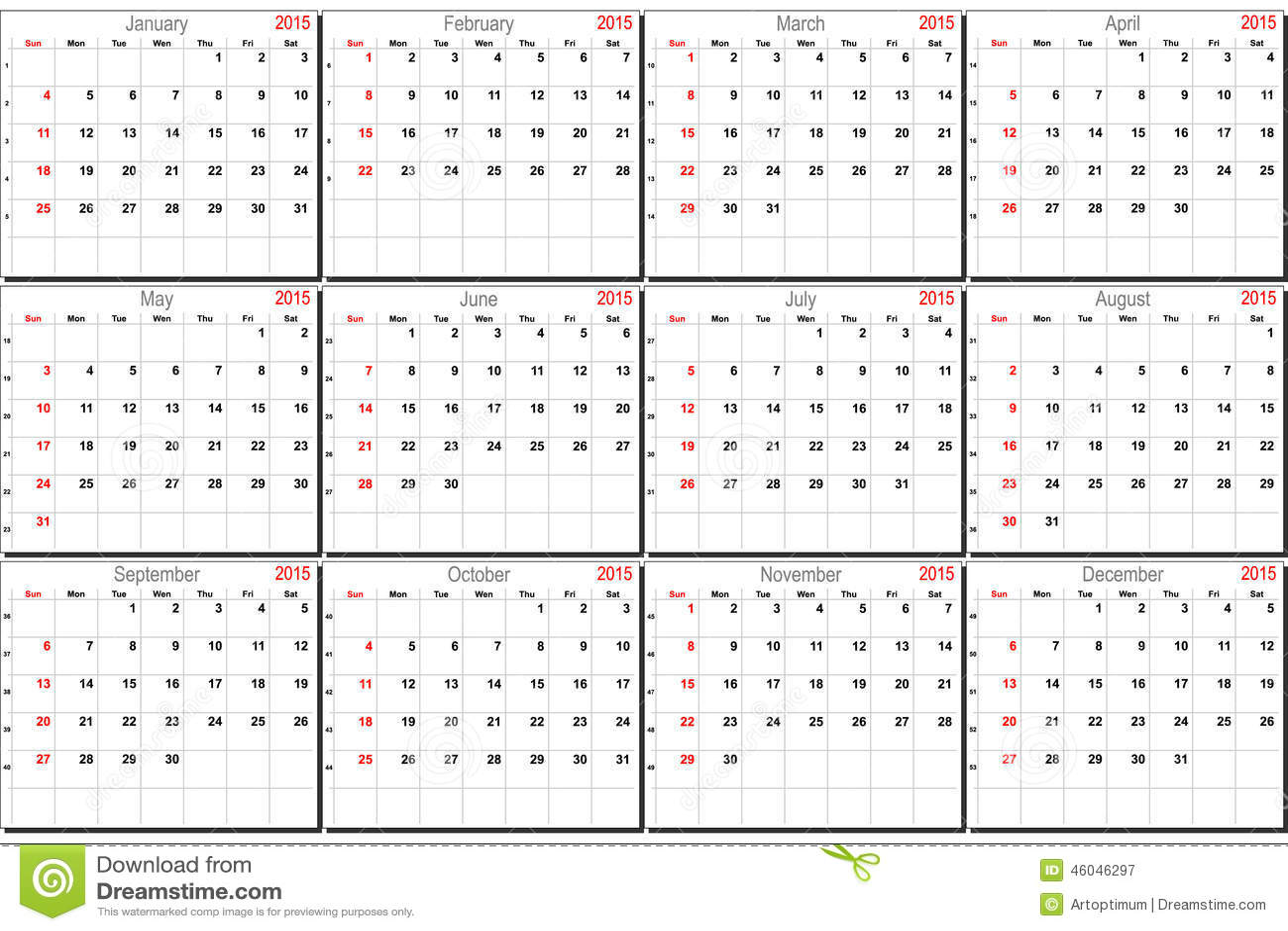 Calendar Planner Vector : Vector calendar for stock image