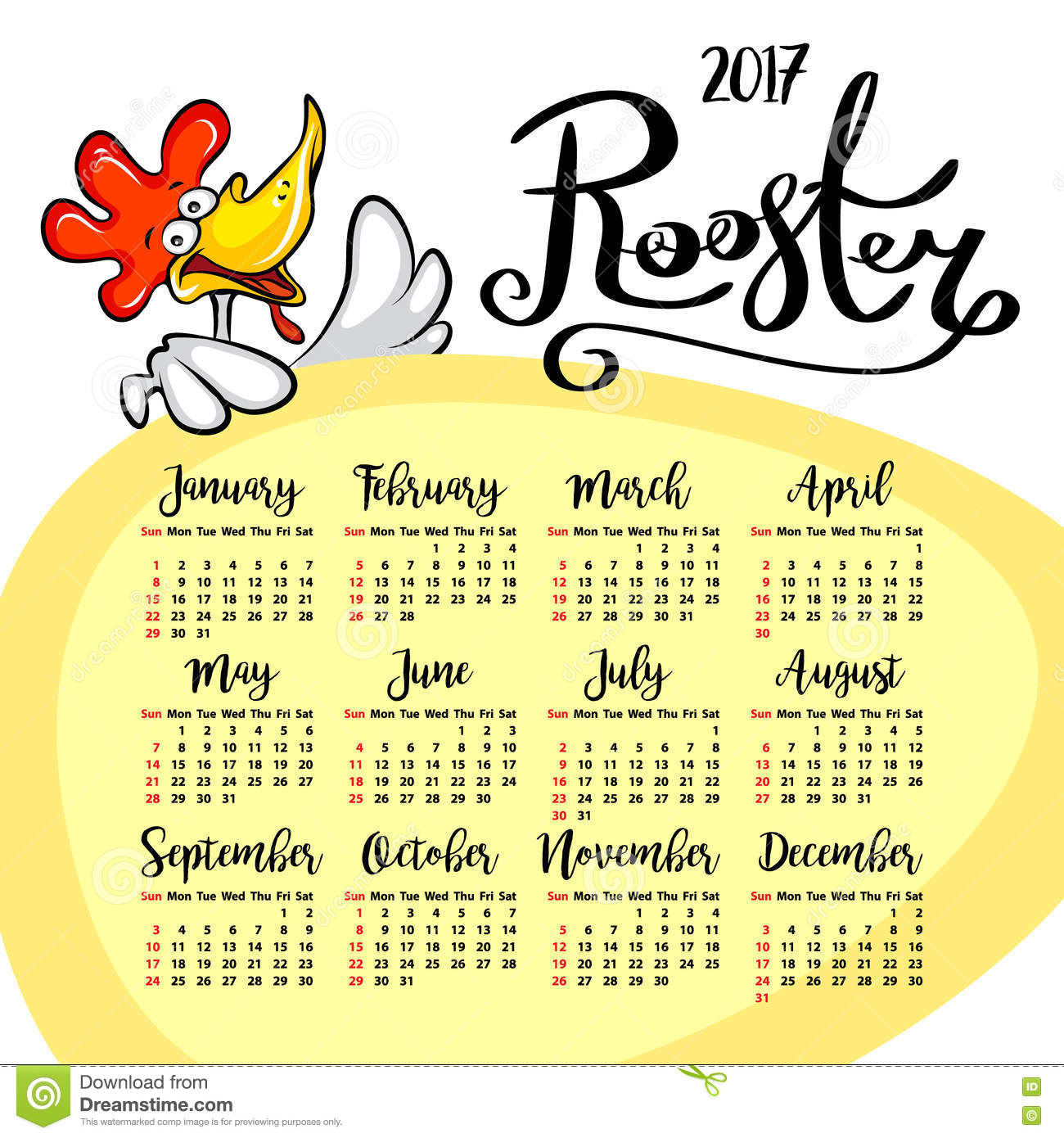 Vector Calendar 2017 Rooster The Symbol Of The Chinese New Year