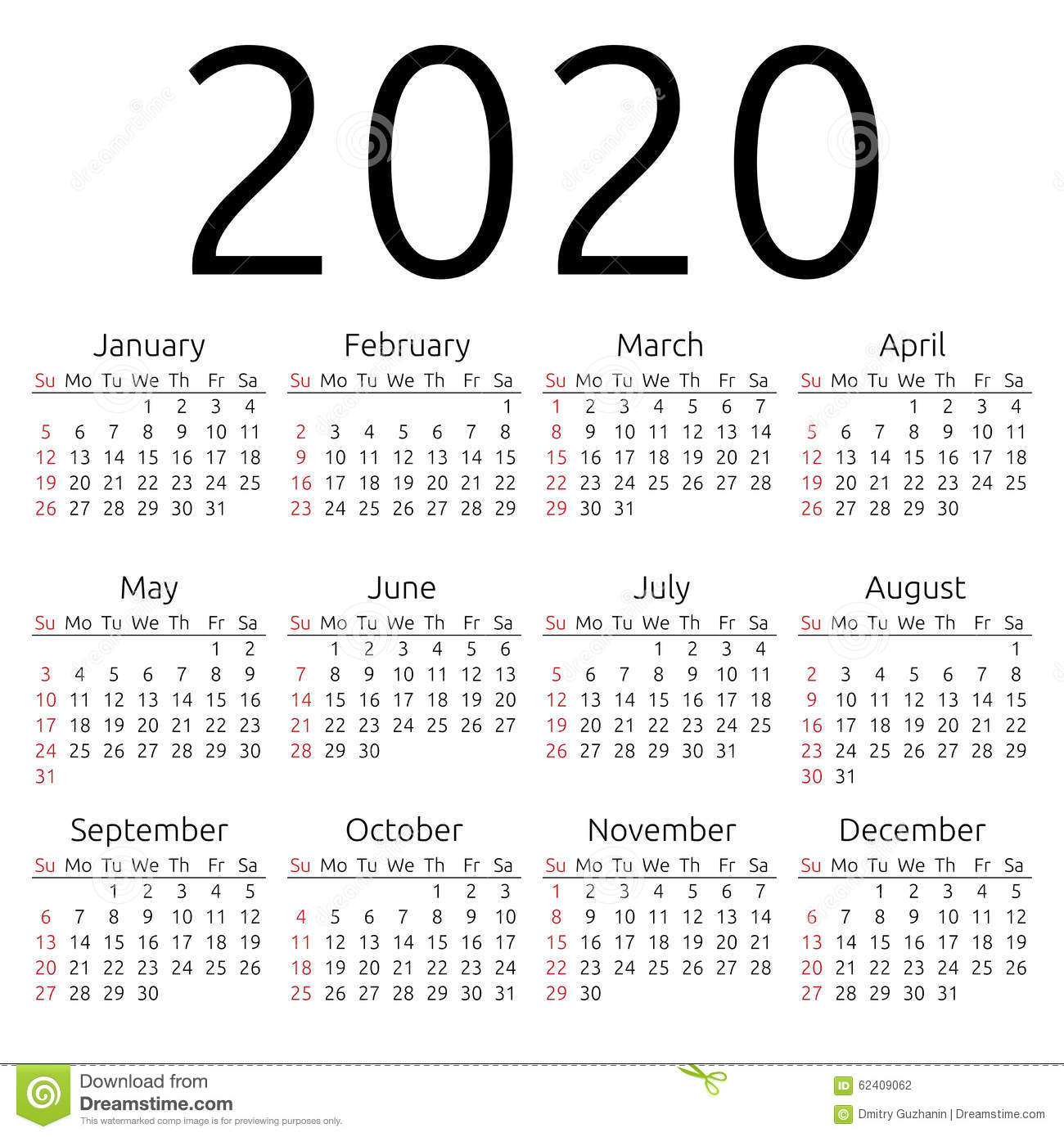 2020+Calendar Simple 2020 year calendar, week starts on Sunday, EPS 8 ...