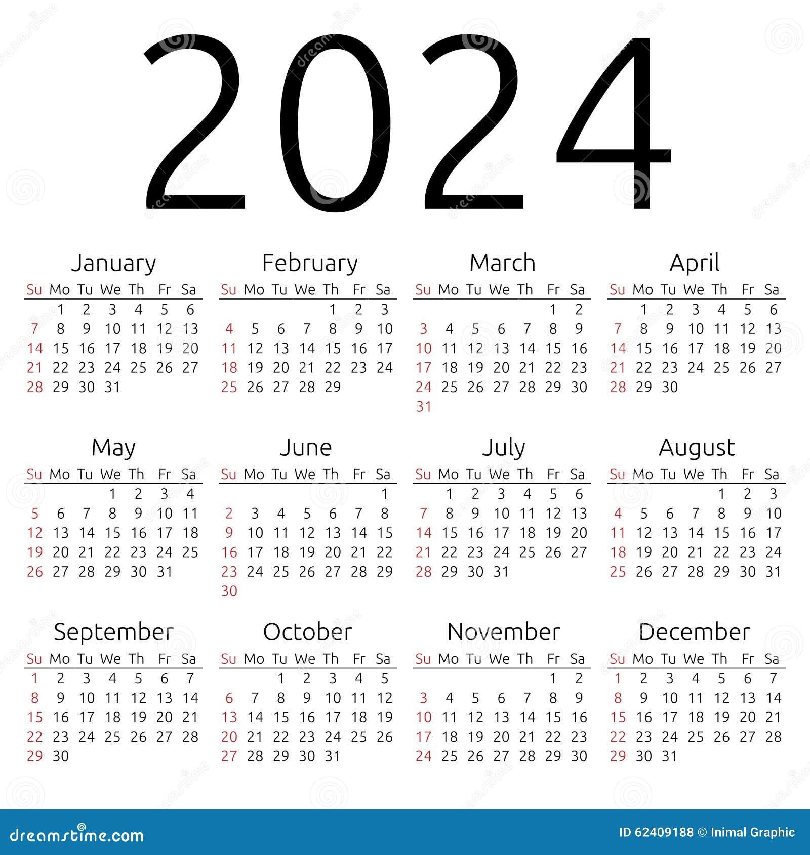 Simple 2024 year calendar, week starts on Sunday, EPS 8 vector.