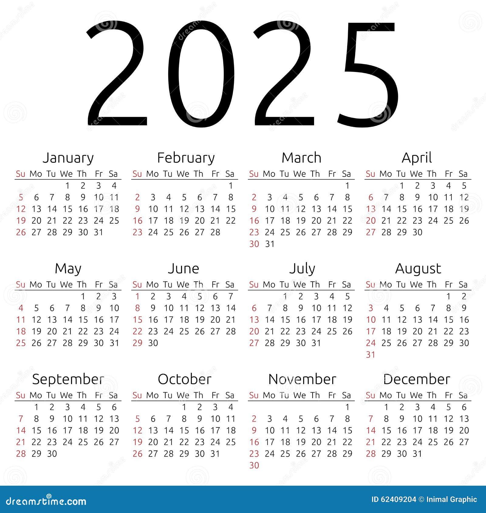 Simple 2025 year calendar, week starts on Sunday, EPS 8 vector.
