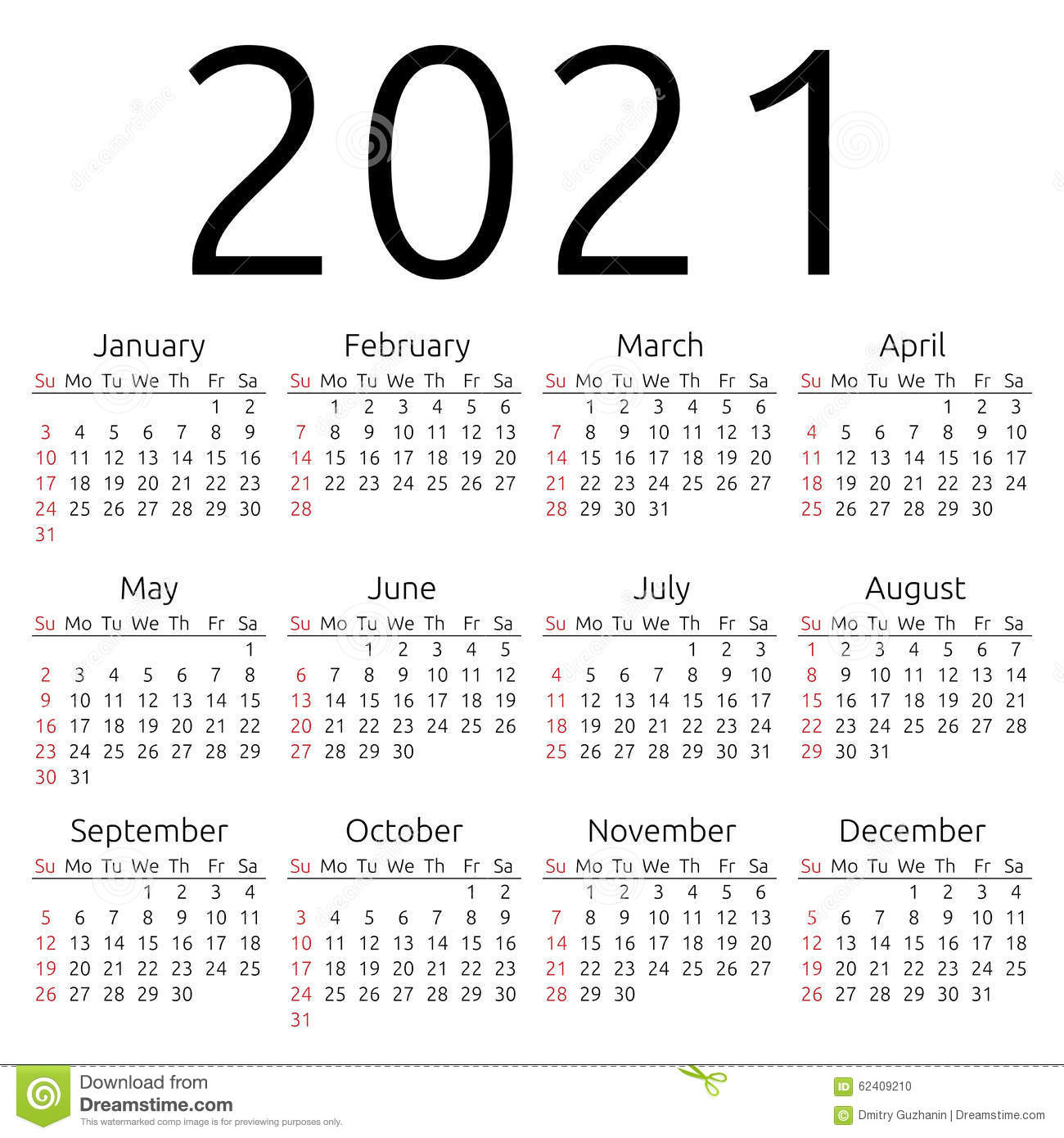 Vector Calendar 2021, Sunday Stock Vector - Image: 62409210