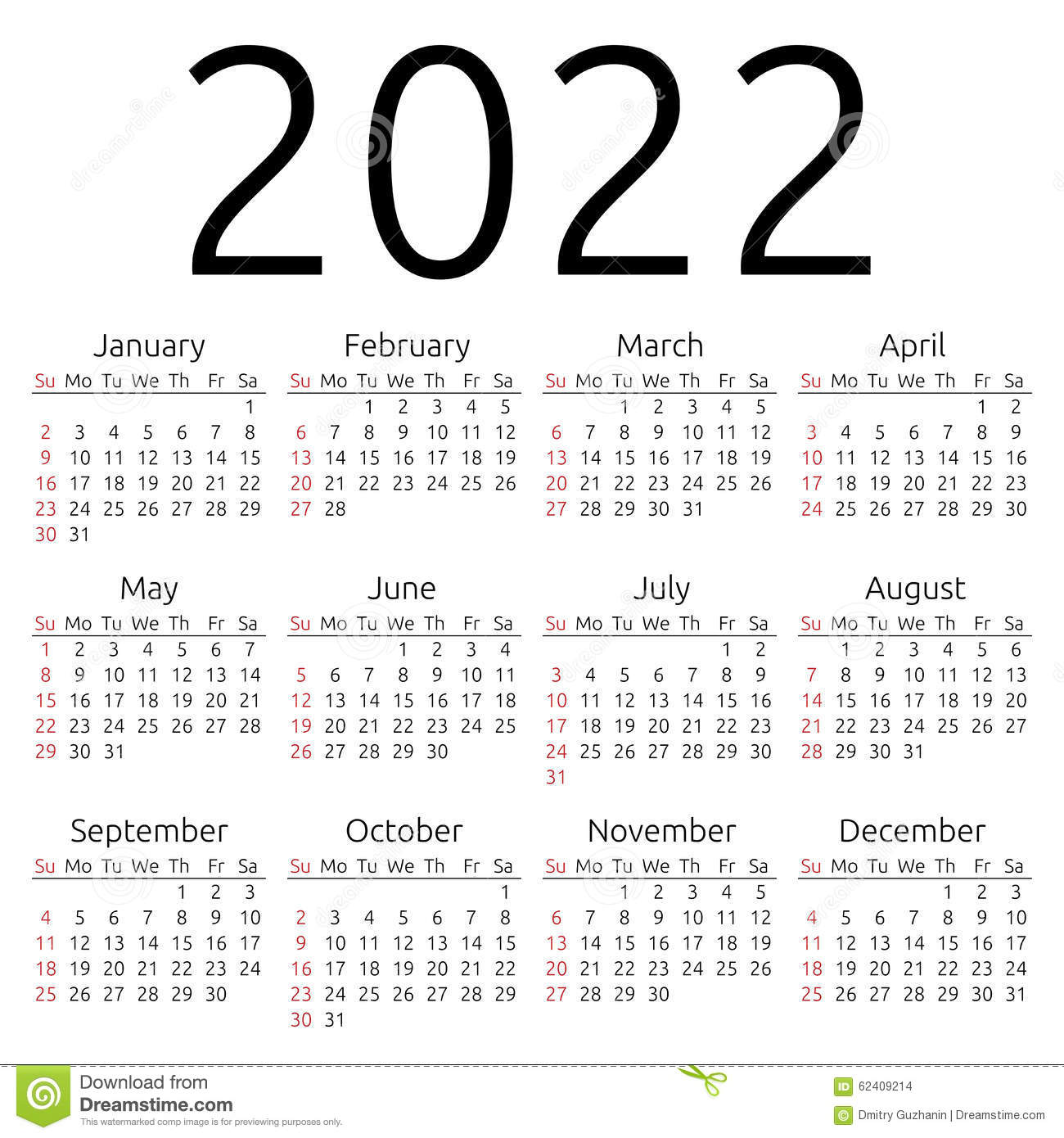 Vector Calendar 2022 Sunday Stock Vector Image 62409214