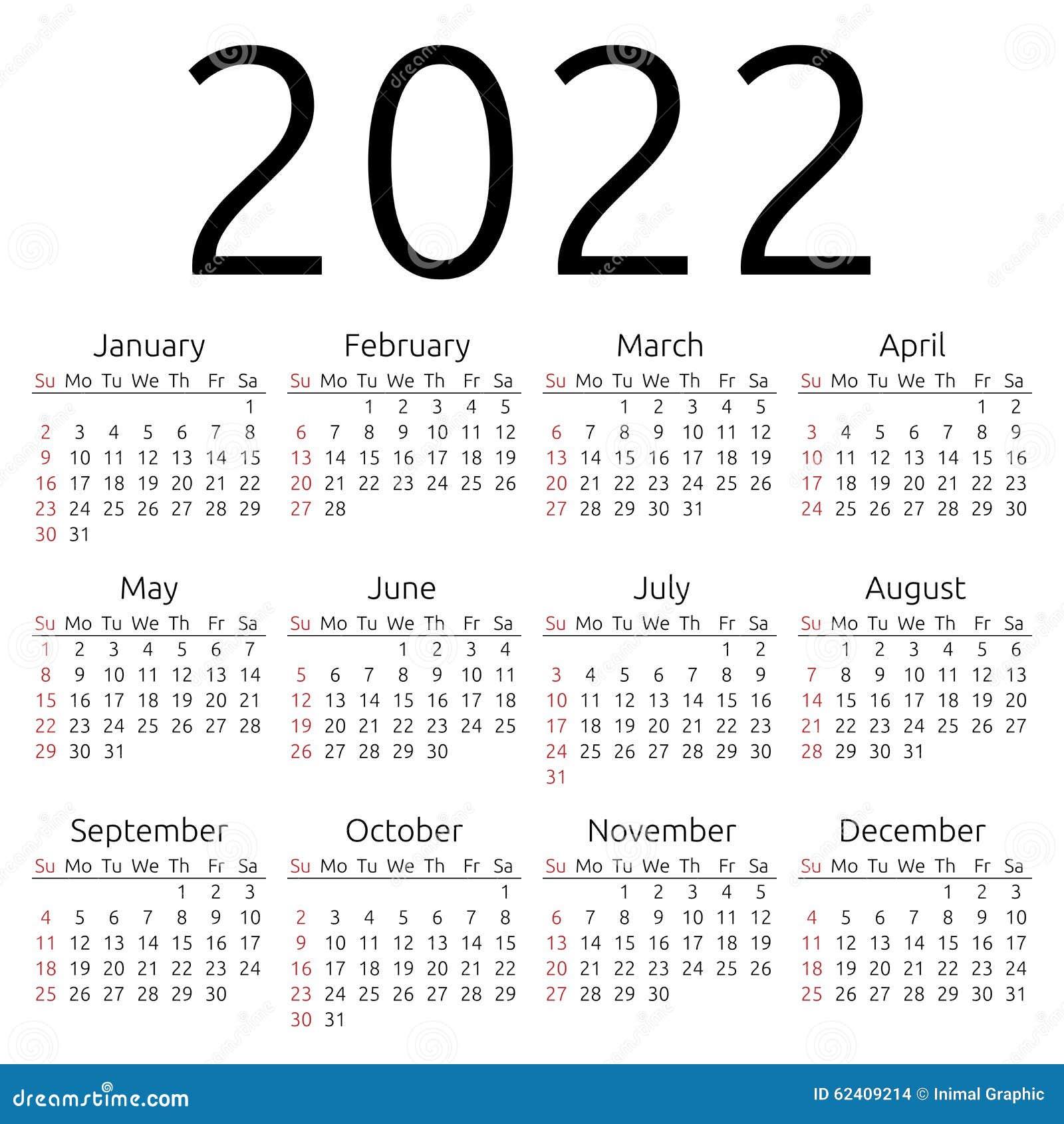 Simple 2022 year calendar, week starts on Sunday, EPS 8 vector.