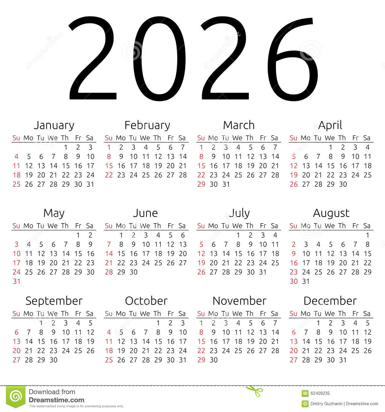 Simple 2026 year calendar, week starts on Sunday, EPS 8 vector.